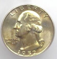 1952-D WASHINGTON SILVER 25 CENTS ICG MS66+ LISTS FOR $115