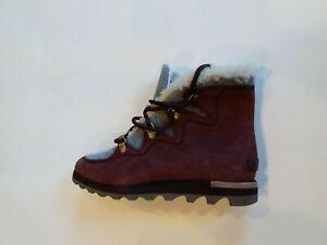 Sorel Women's Sneakchic Alpine Boots - Cattail, Red, Brown - Size 8