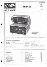 Graetz Service Manual für Form 99 und 99 C