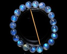 Natural Strong Blue Light Moonstone Crystal Clear Beads Bracelet 11mm AAAAA