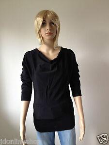 Pullover mit weich fallendem Wasserfall Kragen Shirt Gr. 34, 36, 38, 40 42 Damen