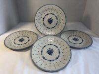 Sango Renaissance ARCADIA BLUE Salad Plate (s) LOT OF 4 Stoneware