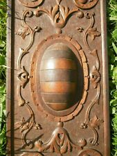 SUPERB 19thc OAK WOOD PANEL WITH STRAPWORK DOME CARVED CENTRALLY (2)