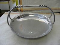 "9"" Diameter Vintage Hammered Aluminum SERVING TRAY BOWL w/ Handles! ~"