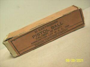 antique~WESTERN CARTRIDGE CO.~PISTOL BALL~.45 CALIBER M1911~20 COUNT AMMO BOX~