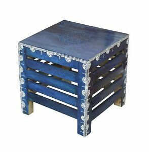 Handcrafted Wooden Square Stool for Living Room Side Table ( Blue Finish )