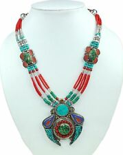 """New Arrival Red Coral,Turquoise & Lapis Lazuli Tibetan Necklace Size-21"""" NN-9459"""
