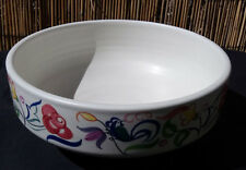 Poole Pottery Hand Painted Large Fruit Bowl Signed LEK - bird flower design