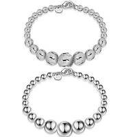 Women 925 Sterling Silver Plated Beads Bangle Cuff Charm Bracelet Jewelry Gift