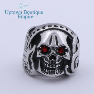 DJ Skull Studio Rock Music Men's Stainless Steel Biker Ruby Ring Size:8-13 #GF