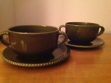 2 Crate & Barrel Stoneware 2 Handled Soup Bowls Plates Eigen Solid Dark Green D1
