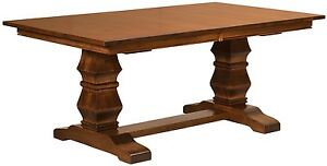 Amish Traditional Pedestal Trestle Dining Table Rectangle Solid Wood Furniture