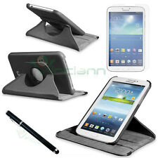 "Pellicola+Pennino+Custodia NERA Rotante Samsung Galaxy Tab 3 7.0 T210 P3200 7"""