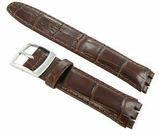 17mm Genuine Leather Alligator Grain Padded Dark Brown Watch Band Fits Swatch