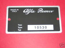 TARGHETTA IDENTIFICATIVA DATI ALFA ROMEO GT 1300 JUNIOR BERTONE (Tipo 105.30)