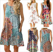 Women Sleeveless Summer Boho Floral Tank Dress Casual Beach Swing Mini Sundress
