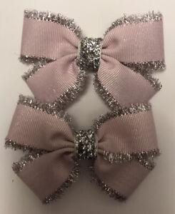 2 Girls Pale Pink And Silver Christmas Handmade Ribbon Hair Bows /Clasps / Clips