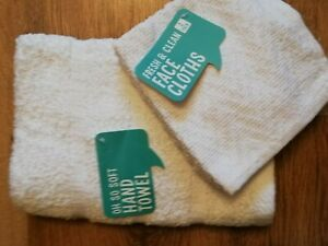 WHITE HAND TOWEL AND 2 FACE CLOTHS SET - FLANNEL WASH CLOTH