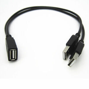 USB 2.0 A Female to 2 Dual USB male Hub Power Adapter Y Splitter Cable Cord Lead