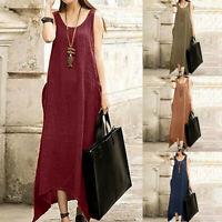 Women Plus Vintage Boho Sleeveless Cotton Linen Irregular Kaftan Long Maxi Dress