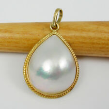 Pear 19x16mm Australian Mabe Pearl Pendant Genuine 750 18k Yellow Gold - 18MPP06
