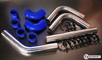 """2"""" 51mm OD Aluminium Universal Intercooler Pipe Kit + Clamps + Silicone - Blue"""