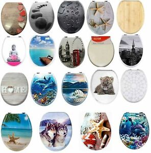 NOVELTY TOILET SEAT MDF RESIN RETRO PRINTED DESIGN STRONG SILVER HINGES BATHROOM