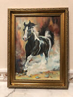 ORIGINAL  AUTHENTIC OIL PAINTING RUNNING HORSE   FRAMED SIGNED #269