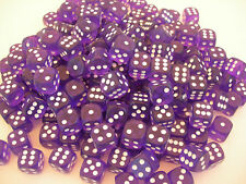 PURPLE ACRYLIC DICE w/ROUND CORNERS 16mm (100) TOTAL