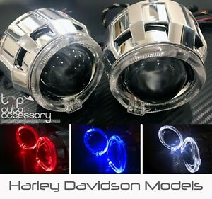 Angel Halo Eye Projector Lens Built-In LED HID Headlights Lights Bulb for Harley