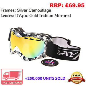 Rayzor Camo UV400 Anti Fog Gold Vented Double Lens Ski Snowboard Goggle RRP£69