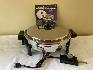 """Saladmaster Stainless Steel Automatic Electric Skillet No 7256 Liquid Core 12"""""""