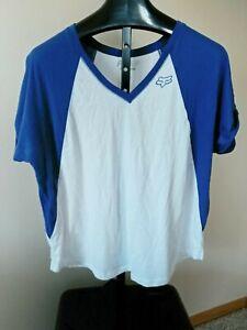 Fox Head/Fox Racing Womens XL Blue & White Short Sleeve T-Shirt