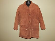 Ralph Lauren Mens sz M Camel Distressed Leather Button Jacket Flannel Lined EUC