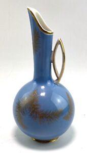 Retro Mid Century VEB German Porcelain Jug Vase Feather Design Interior Decor