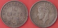 Very Fine 1938 Canada Newfoundland Silver 10 Cents