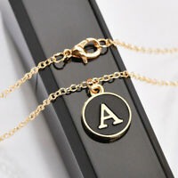 Women Necklace A-Z Letter Round Alphabet Pendant Chain Choker Jewelry Gift Charm
