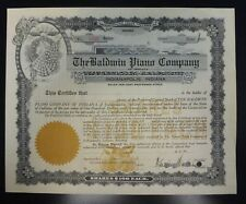 {BJSTAMPS} 19-- BALDWIN PIANO COMPANY Stock Certificate - Unissued INDIANA
