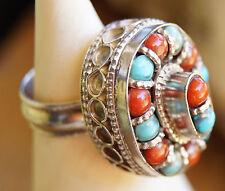 Silberring Massiv Kuppel 57 Türkis Koralle Handarbeit Ring Silber Antik Vintage