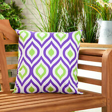 Purple & Lime Abstract Water Resistant Outdoor Printed Garden Scatter Cushion