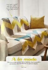 KNITTING PATTERN Chevron Patterned Sofa Blanket Throw Diagonal Bernat PATTERN