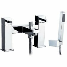 Square Chrome Bathroom Bath Shower Mixer tap with handset, holder & Hose (BK006)