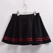 Women's Punk High Waist Slim Midiskirt Gothic Lolita Black Striped Skirt Cute