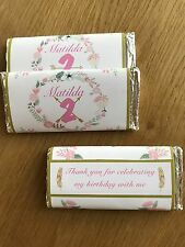 Boho Floral Personalised Chocolate Wrappers for Birthday, Baby Shower, Bridal