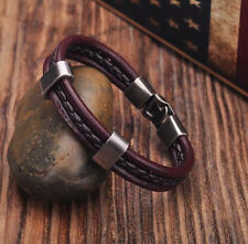 G181 Brown Cool Single Wrap Leather Bracelet Bangle Wristband Men's Cuff