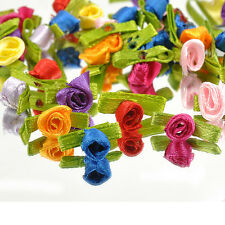 DIY Ribbon Rose 100 pcs Wedding Flower Satin Decor Appliques Craft Sewing Leaves
