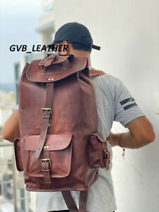 "22"" Men's Vintage Leather New Backpack Laptop Travel Shoulder Rucksack Bag"