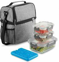 Dual Compartment Insulated Lunch Bag with Glass Meal Prep Containers