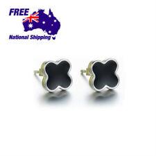 925 Sterling Silver Four Leaf Soft Enamel Jewellery Earring Stud