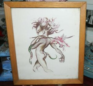 """VINTAGE After original watercolour """"The Hunter"""" by Brownie Downing print"""